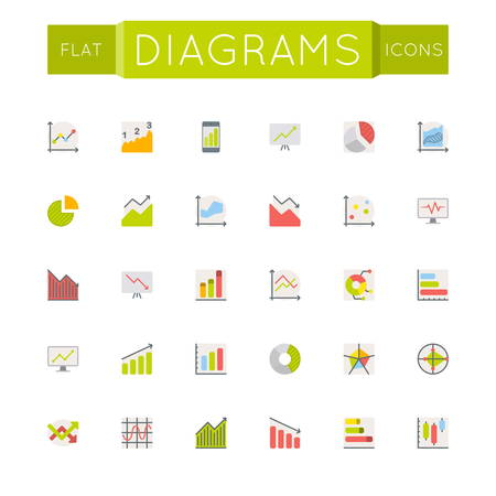 sectors: Vector Flat Diagrams Icons isolated on white background
