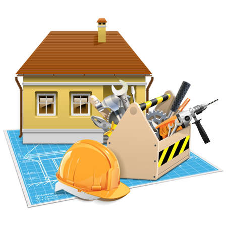 house under construction: Vector House Repair Project isolated on white background