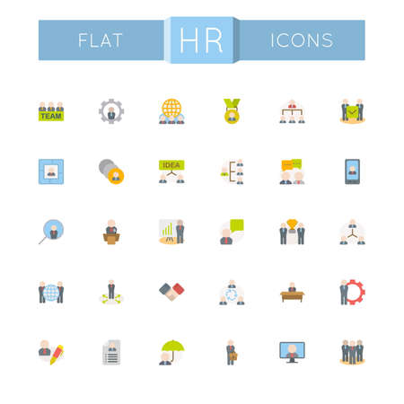 recruitment icon: Vector Flat HR Icons isolated on white background