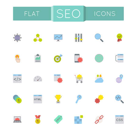 global settings: Vector Flat SEO Icons isolated on white background
