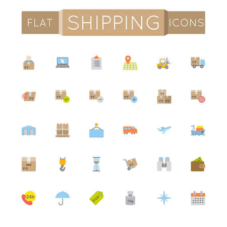 international monitoring: Vector Flat Shipping Icons isolated on white background