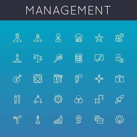 Vector gestione della linea Icons isolati su gradienti sfondo Archivio Fotografico - 37490531