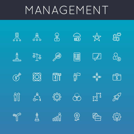 Vector Management Line Icons isolated on gradients background