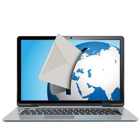 icono computadora: Vector Correo concepto con bloc de notas aisladas sobre fondo blanco
