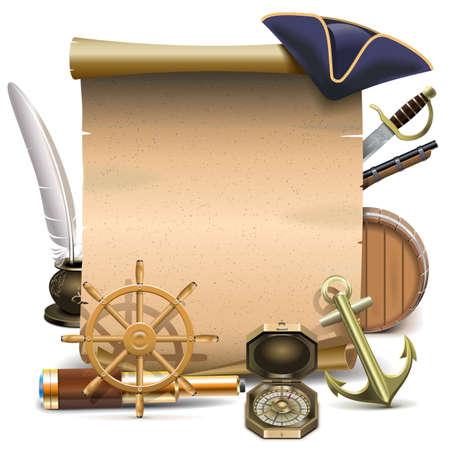 sombrero pirata: Vector del marco de la marinería aislado en fondo blanco Vectores