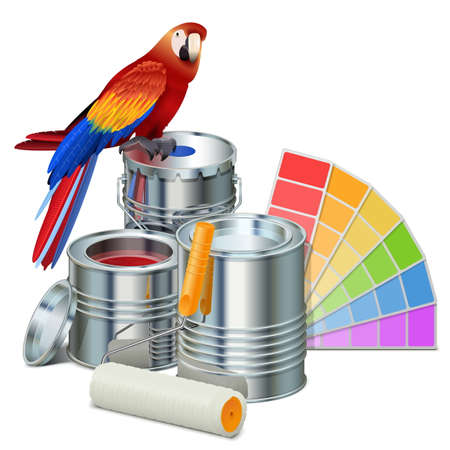 paint cans: Vector Paint Cans with Parrot isolated on white background
