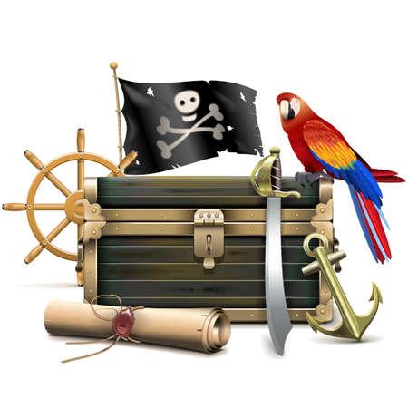 isla del tesoro: Vector Pirata concepto aislado en el fondo blanco