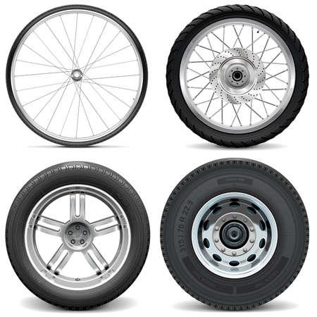 scooter: Neum�ticos vector para motocicleta de la bicicleta del coche y cami�n aislados en fondo blanco