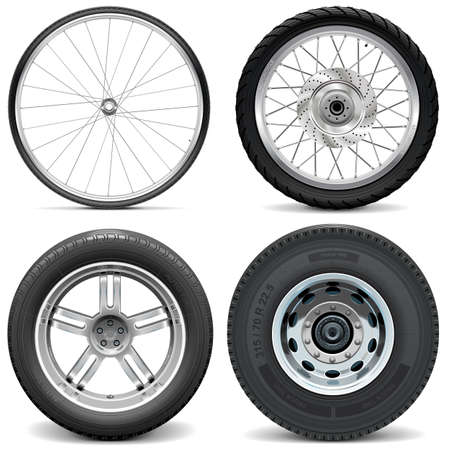 Vector Tires for Bicycle Motorcycle Car and Truck isolated on white background
