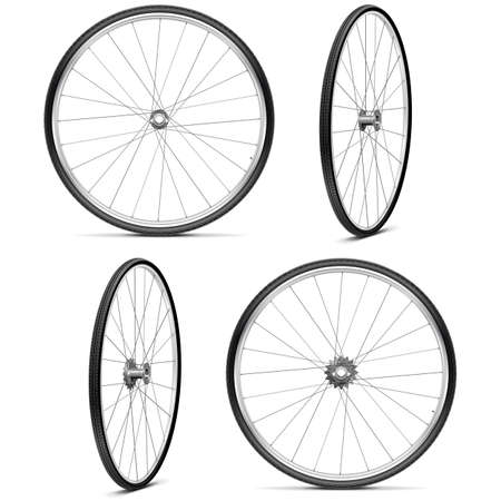 Vector Bicycle Wheels isolated on white background Çizim
