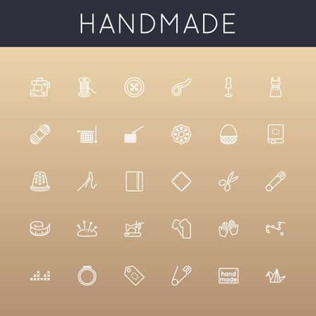 sewing machine: Vector Handmade Line Icons isolated on gradients background Illustration