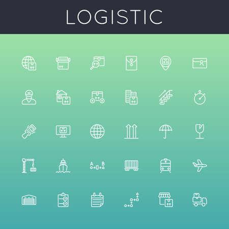 Vector Logistic lijn iconen geïsoleerd op hellingen achtergrond Stock Illustratie