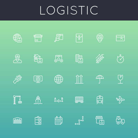 supply chain: Vector Logistic Line Icons isolated on gradients background