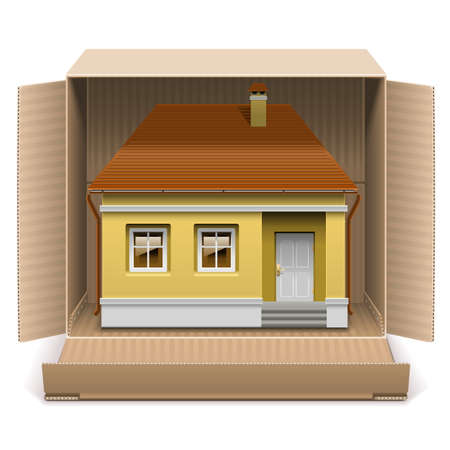 housewarming: Vector House in Carton Box isolated on white background Illustration