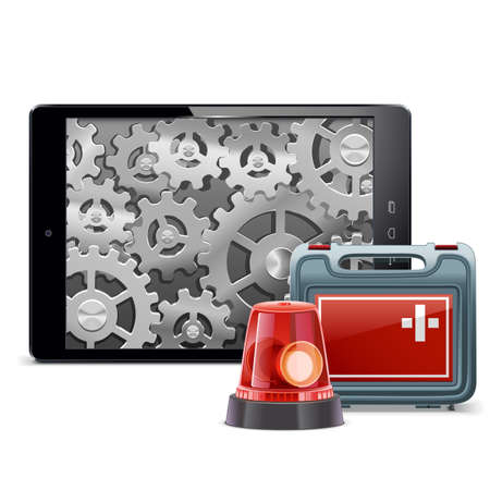 flasher: Vector Tablet PC with Emergency Kit isolated on white background Illustration