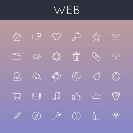 Vector Web Line Icons isolated on gradients background