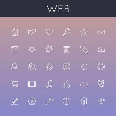 Vector Web lijn iconen geïsoleerd op hellingen achtergrond
