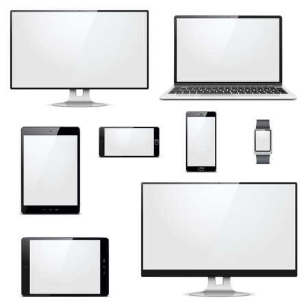 hardware: Vector Moderno dispositivos electr�nicos aislados sobre fondo blanco