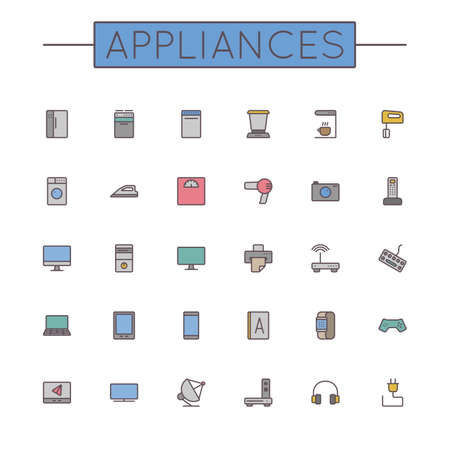 food processor: Vector Colored Appliances Line Icons isolated on white background Illustration