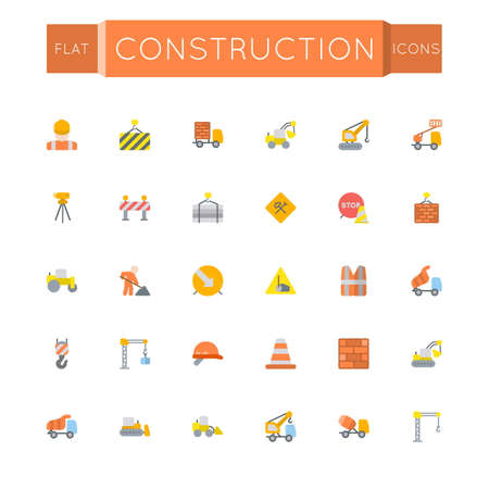 dig up: Vector Flat Construction Icons isolated on white background