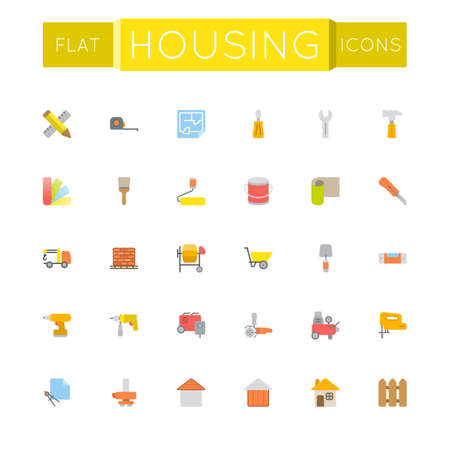 perforator: Vector Flat Housing Icons isolated on white background