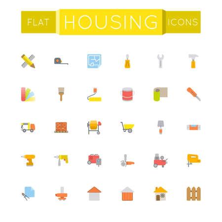 surveying: Vector Flat Housing Icons isolated on white background
