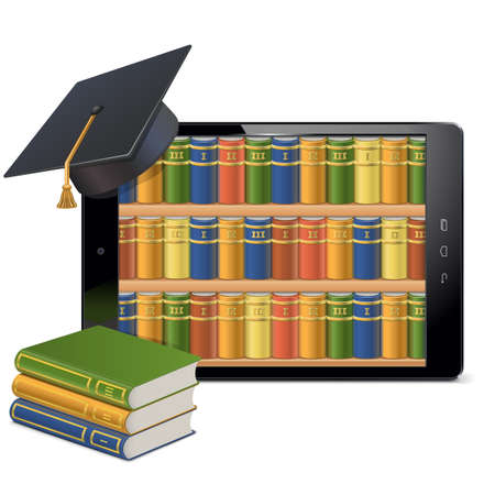 scholastic: Vector Tablet PC with Library isolated on white background