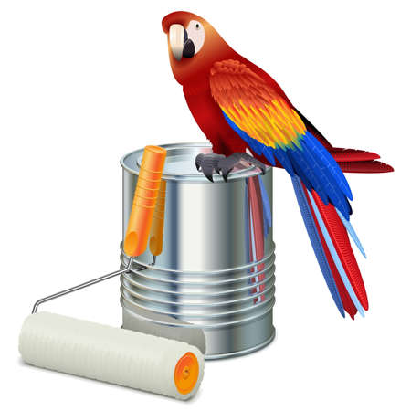 roller brush: Vector Paint Can with Roller Brush and Parrot isolated on white background Illustration
