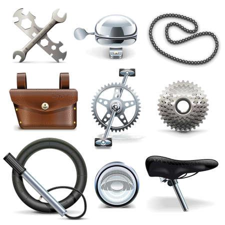campanas: Iconos del vector de la bicicleta aisladas sobre fondo blanco