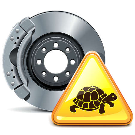 spares: Vector Brake with Sign isolated on white background Illustration
