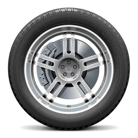 summer tires: Vector rueda de coche con el disco de freno aislado en fondo blanco Vectores