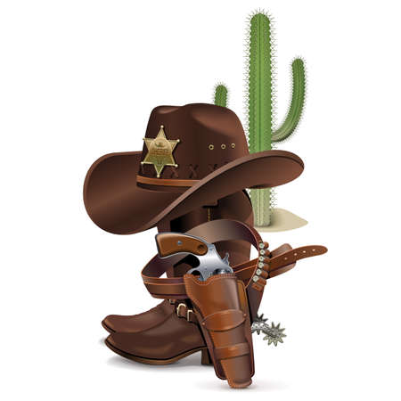 Vector Cowboy Concept op een witte achtergrond Stock Illustratie