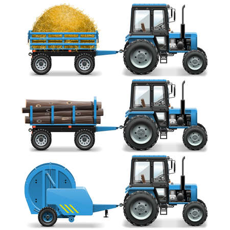 tractor trailer: Vector Farm Tractor with Baler and Trolley isolated on white background