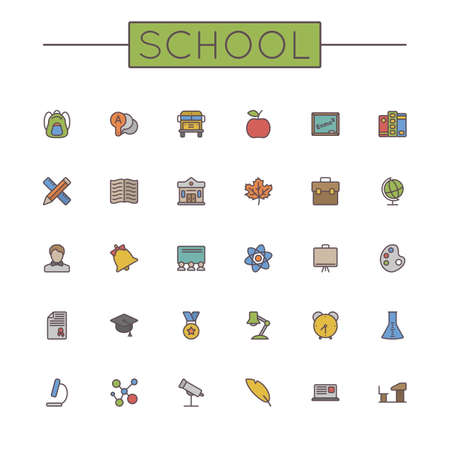 colored school: Vector Colored School Line Icons isolated on white background