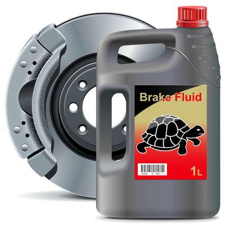 Vector Brake Fluid with Disk Brake isolated on white background Illustration