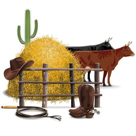botas vaqueras: Vector Vaquero Agricultura concepto aislado en el fondo blanco Vectores