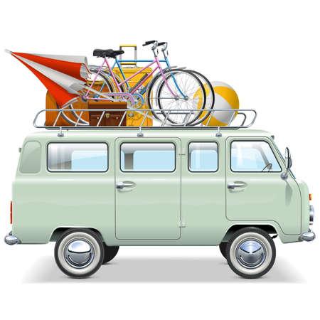 旅行: 白い背景で隔離の旅行車  イラスト・ベクター素材