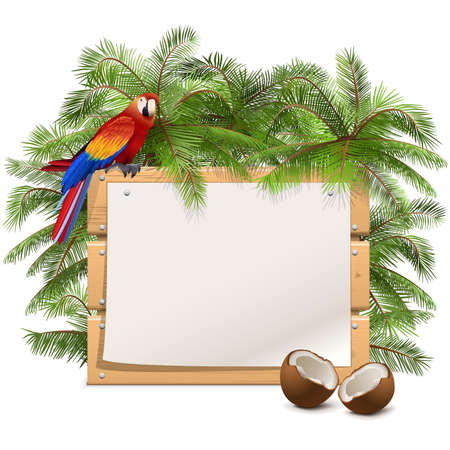 atoll: Vector Wooden Frame with Palm Tree isolated on white background Illustration