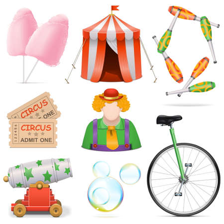cotton candy: Circus Icons isolated on white background Illustration