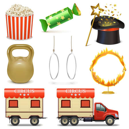 circus caravan: Circus Icons Set 2 isolated on white background Illustration