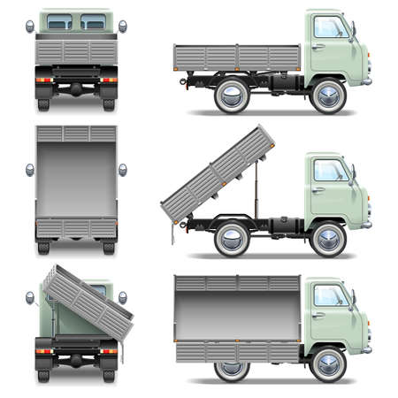 rear wheel: Tipper Truck isolated on white background Illustration