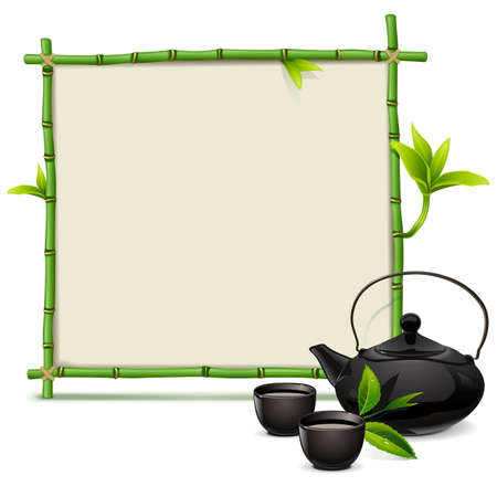 green tea leaf: Vector Bamboo Frame with Tea isolated on white background