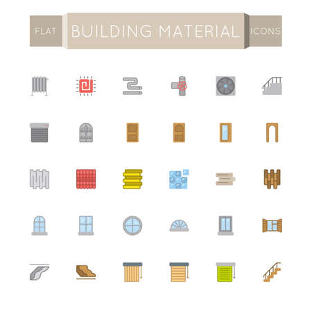 mansard: Vector Flat Building Material Icons isolated on white background