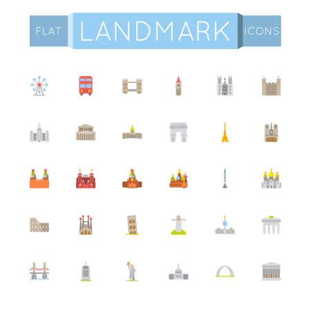 sights: Vector Flat Landmark Icons isolated on white background Illustration