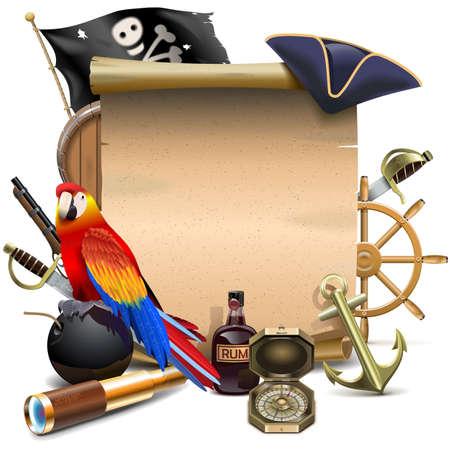 papagayo: Vector del marco de pirata aislado en fondo blanco