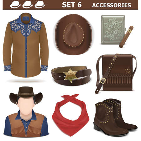 cowboy hat: Vector Male Accessories Set 6 isolated on white background Illustration
