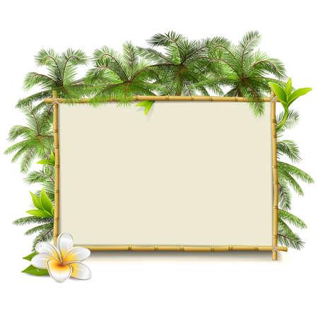 Vector Bamboo Frame met Palm op een witte achtergrond Stock Illustratie