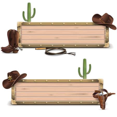 Vector Cowboy borden op een witte achtergrond Stock Illustratie