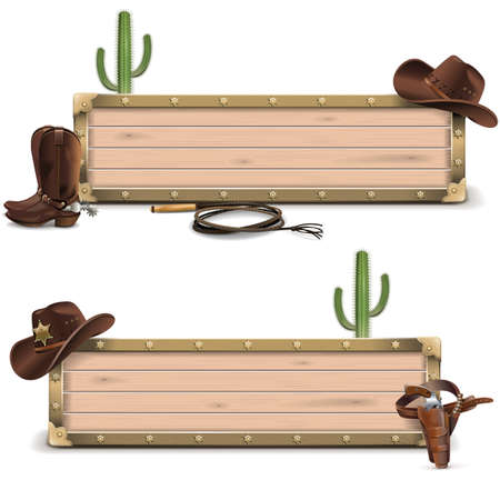 west: Vector Cowboy Signboards isolated on white background Illustration
