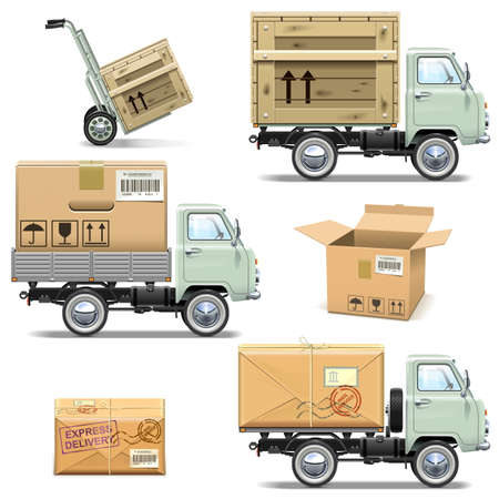 chromium plated: Vector Delivery Retro Light Truck isolated on white background Illustration